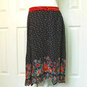 Floral Boho Asymmetrical Skirt